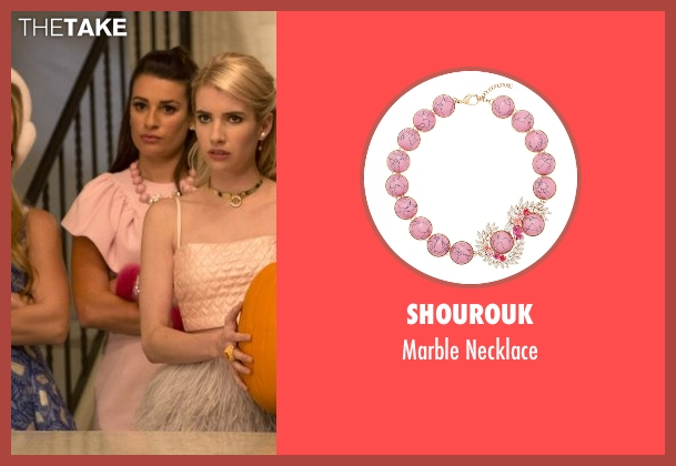 Shourouk pink necklace from Scream Queens seen with Hester Ulrich (Lea Michele)