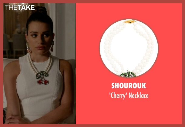 Shourouk white necklace from Scream Queens seen with Hester Ulrich (Lea Michele)