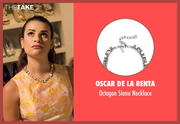 Oscar De La Renta white necklace from Scream Queens seen with Hester Ulrich (Lea Michele)
