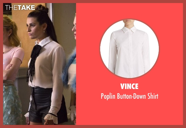 Vince white shirt from Scream Queens seen with Hester Ulrich (Lea Michele)