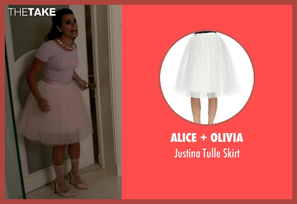 Alice + Olivia white skirt from Scream Queens seen with Hester Ulrich (Lea Michele)