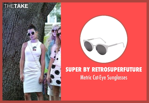 Super By Retrosuperfuture white sunglasses from Scream Queens seen with Hester Ulrich (Lea Michele)
