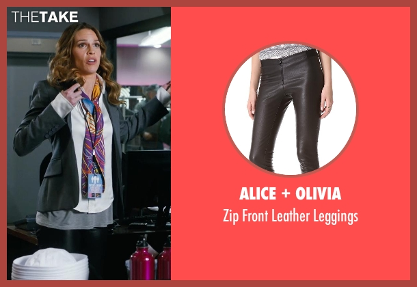 Alice + Olivia black leggings from New Year's Eve seen with Hilary Swank (Claire Morgan)