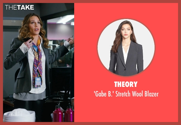 Theory gray blazer from New Year's Eve seen with Hilary Swank (Claire Morgan)