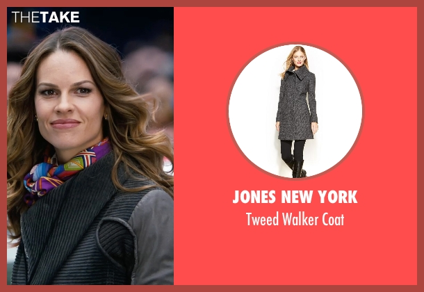 Jones New York gray coat from New Year's Eve seen with Hilary Swank (Claire Morgan)
