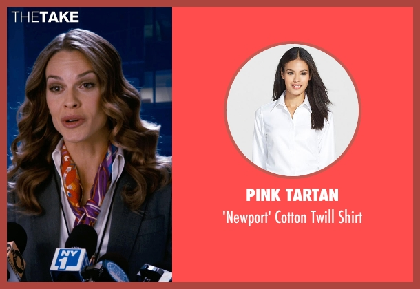 Pink Tartan white shirt from New Year's Eve seen with Hilary Swank (Claire Morgan)