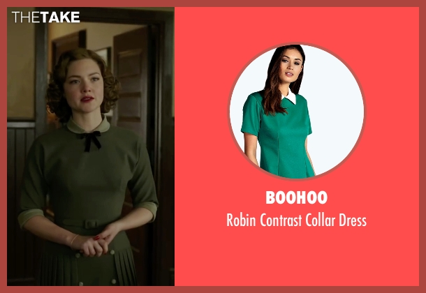 Boohoo green dress from The Finest Hours seen with Holliday Grainger (Miriam)