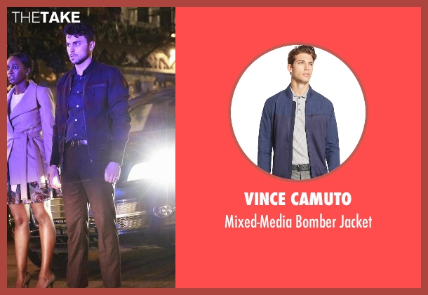 Vince Camuto blue jacket from How To Get Away With Murder seen with Jack Falahee