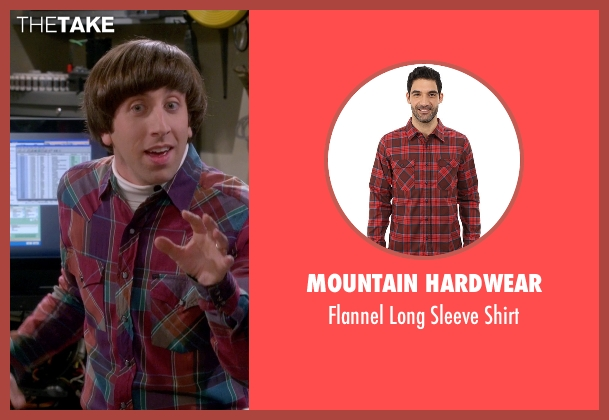 Mountain Hardwear red shirt from The Big Bang Theory seen with Howard Wolowitz (Simon Helberg)