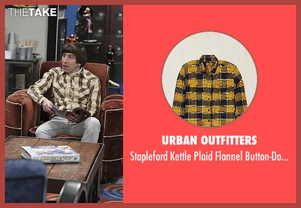 Urban Outfitters yellow button-downshirt from The Big Bang Theory seen with Howard Wolowitz (Simon Helberg)