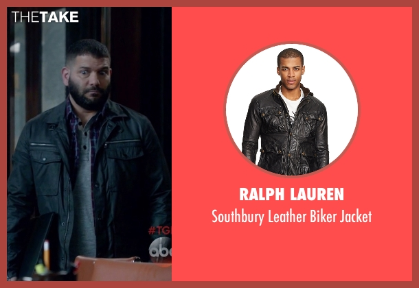 Ralph Lauren black jacket from Scandal seen with Huck (Guillermo Díaz)