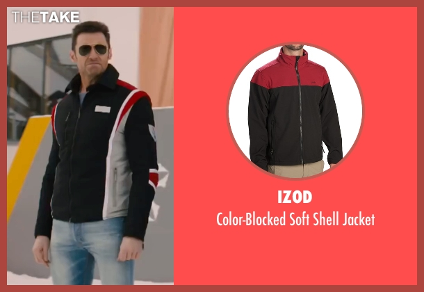 Izod black jacket from Eddie The Eagle seen with Hugh Jackman (Bronson Peary)