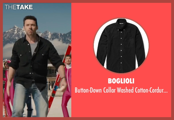 Boglioli black shirt from Eddie The Eagle seen with Hugh Jackman (Bronson Peary)