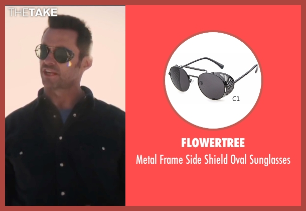 Flowertree black sunglasses from Eddie The Eagle seen with Hugh Jackman (Bronson Peary)