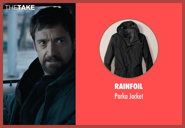 Rainfoil black jacket from Prisoners seen with Hugh Jackman (Keller Dover)