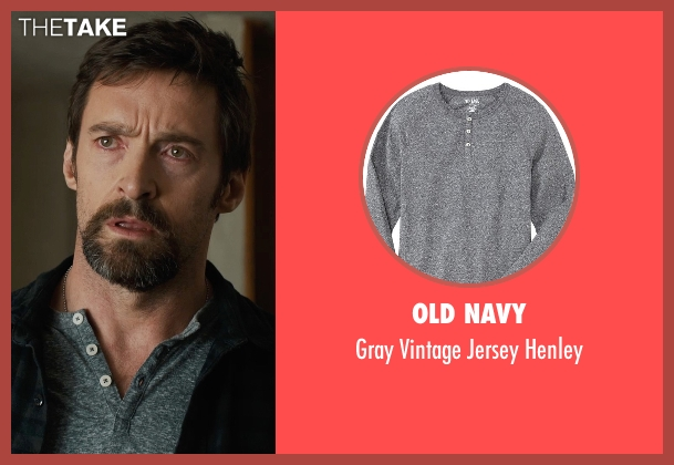 Old Navy gray henley from Prisoners seen with Hugh Jackman (Keller Dover)