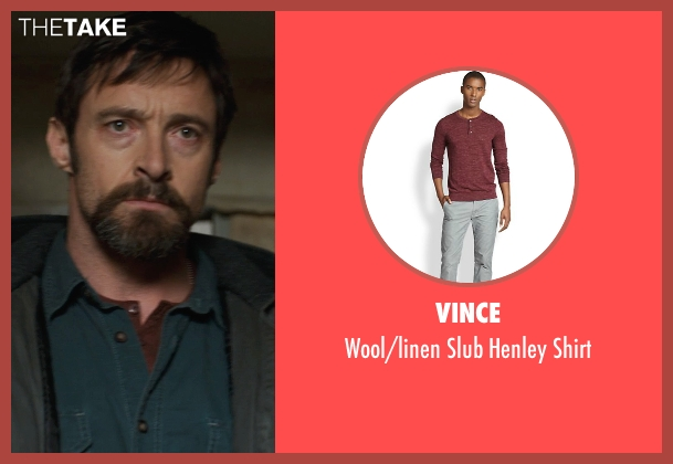 Vince red shirt from Prisoners seen with Hugh Jackman (Keller Dover)