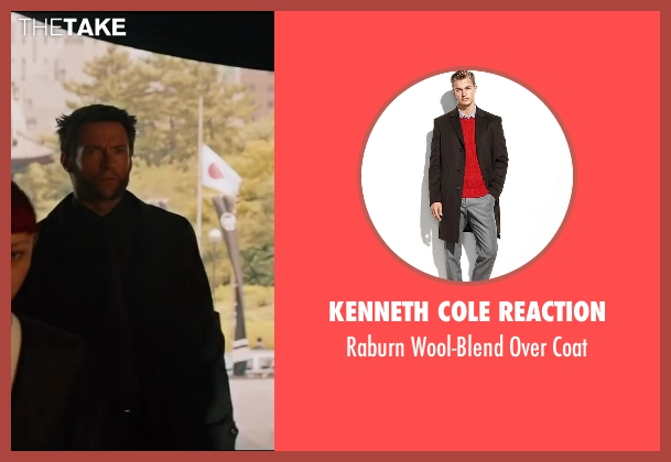 Kenneth Cole Reaction black coat from The Wolverine seen with Hugh Jackman (Logan / Wolverine)
