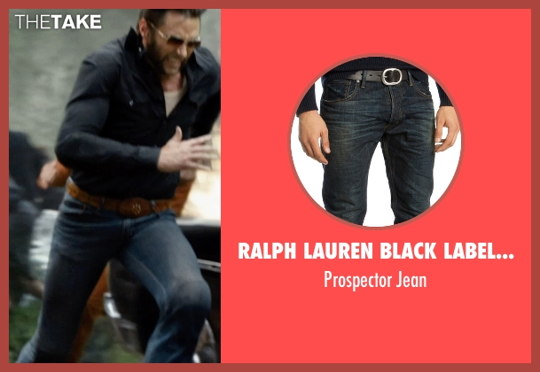 Ralph Lauren Black Label Denim blue jean from X-Men: Days of Future Past seen with Hugh Jackman (Logan / Wolverine)
