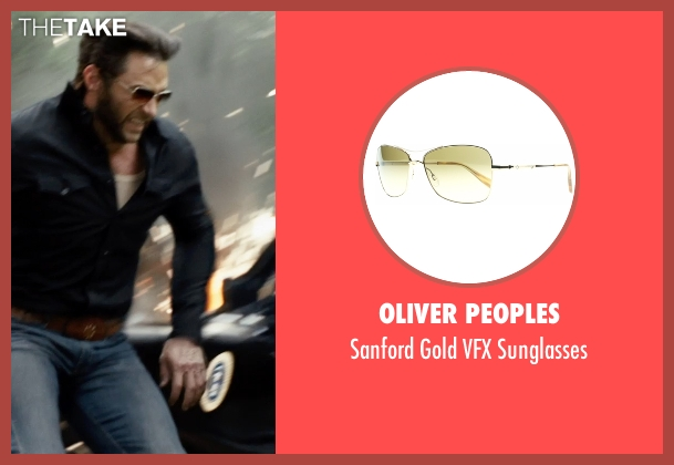 Oliver Peoples brown sunglasses from X-Men: Days of Future Past seen with Hugh Jackman (Logan / Wolverine)