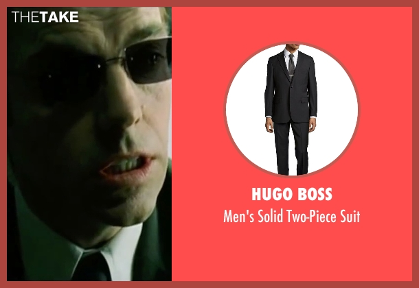 Hugo Boss black suit from The Matrix seen with Hugo Weaving (Agent Smith)