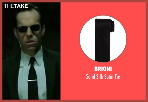 Brioni black tie from The Matrix seen with Hugo Weaving (Agent Smith)