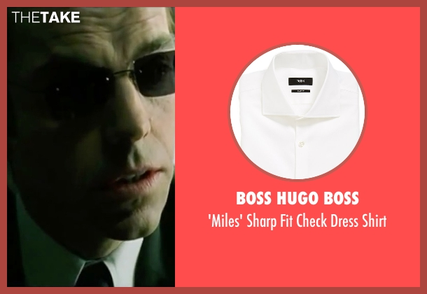 Boss Hugo Boss white shirt from The Matrix seen with Hugo Weaving (Agent Smith)