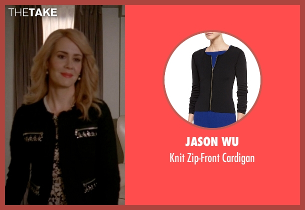 Jason Wu black cardigan from American Horror Story seen with Hypodermic Sally (Sarah Paulson)