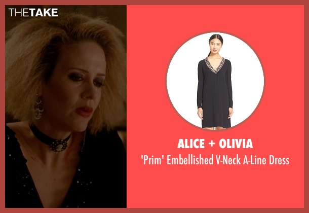 Alice + Olivia black dress from American Horror Story seen with Hypodermic Sally (Sarah Paulson)