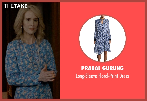Prabal Gurung blue dress from American Horror Story seen with Hypodermic Sally (Sarah Paulson)