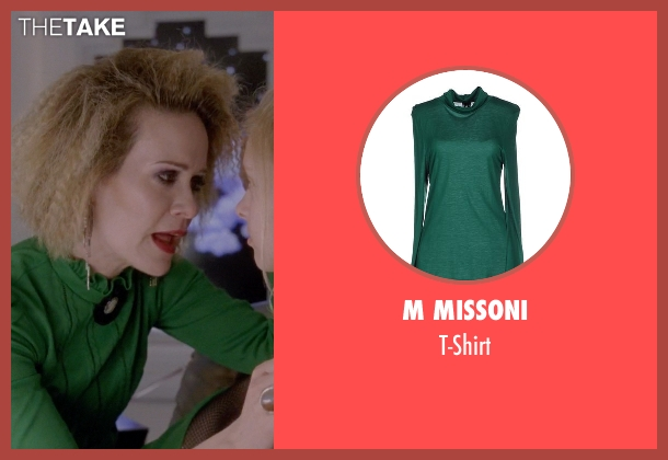 M Missoni green t-shirt from American Horror Story seen with Hypodermic Sally (Sarah Paulson)