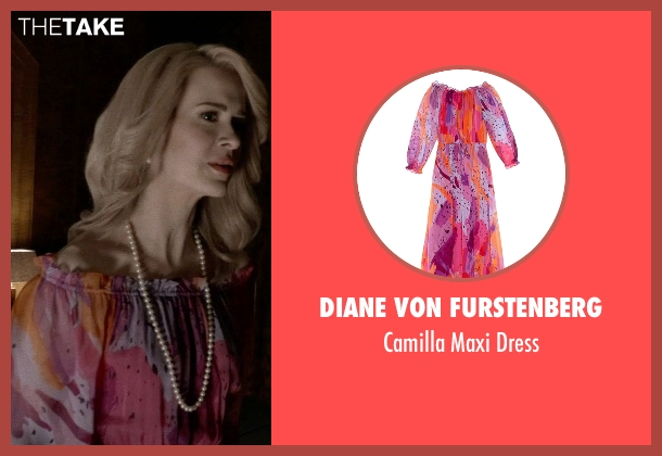 Diane Von Furstenberg pink dress from American Horror Story seen with Hypodermic Sally (Sarah Paulson)
