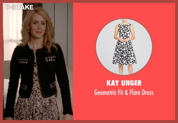 Kay Unger white dress from American Horror Story seen with Hypodermic Sally (Sarah Paulson)