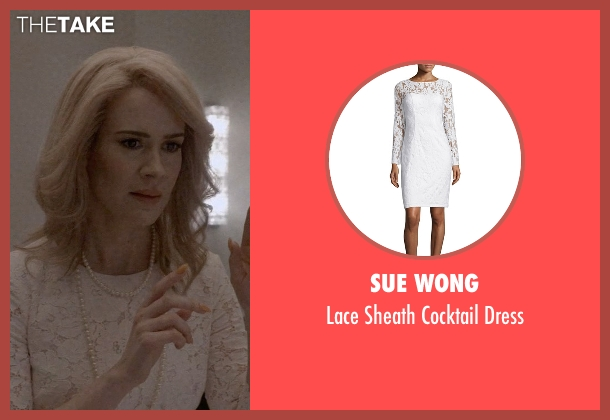 Sue Wong white dress from American Horror Story seen with Hypodermic Sally (Sarah Paulson)