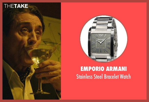Emporio Armani silver watch from John Wick seen with Ian McShane (Winston)