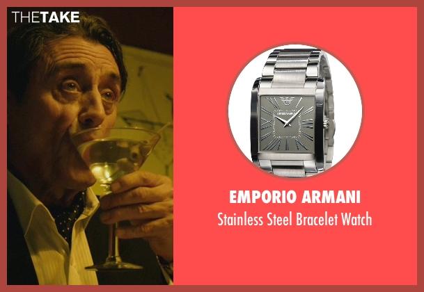 Emporio Armani silver watch from John Wick seen with Ian McShane (Winston)
