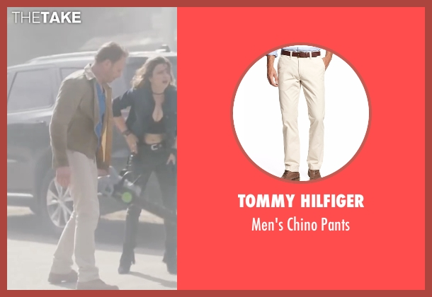 Tommy Hilfiger beige pants from Sharknado 4: The Fourth Awakens seen with Ian Ziering (Fin Shepard)