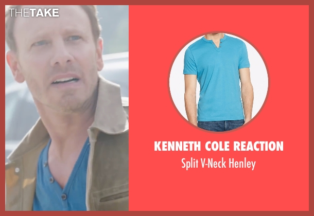 Kenneth Cole Reaction blue henley from Sharknado 4: The Fourth Awakens seen with Ian Ziering (Fin Shepard)