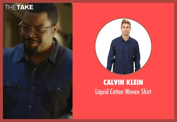 Calvin Klein blue shirt from Barbershop: The Next Cut seen with Ice Cube (Calvin Palmer)