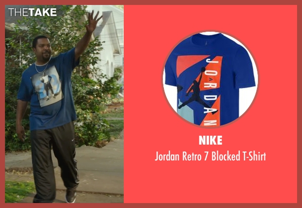Nike blue t-shirt from Barbershop: The Next Cut seen with Ice Cube (Calvin Palmer)