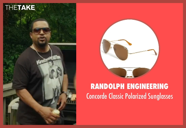 Randolph Engineering brown sunglasses from Barbershop: The Next Cut seen with Ice Cube (Calvin Palmer)