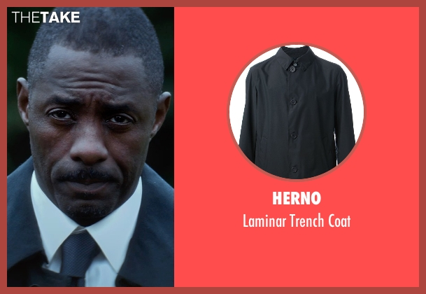 Herno blue coat from The Gunman seen with Idris Elba (DuPont)
