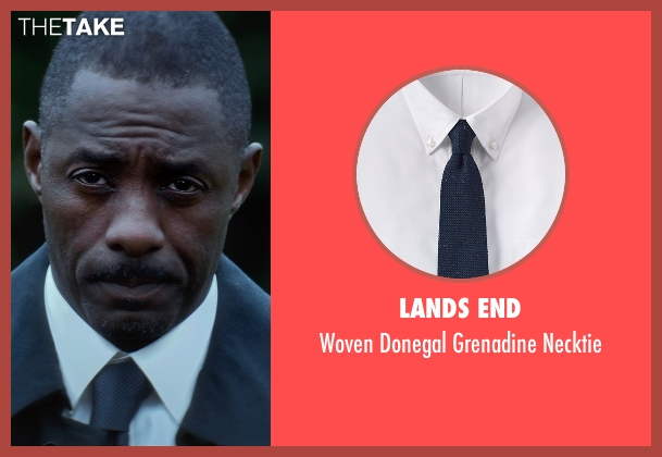 Lands End blue necktie from The Gunman seen with Idris Elba (DuPont)