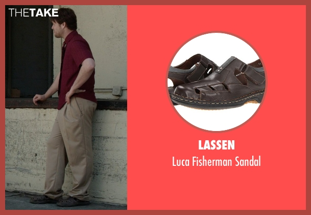 Lassen brown sandal from Neighbors seen with Ike Barinholtz (Jimmy)