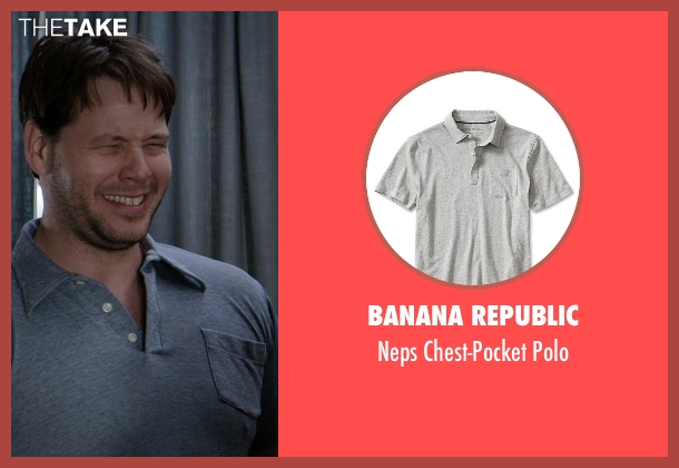Banana Republic gray polo from Neighbors seen with Ike Barinholtz (Jimmy)