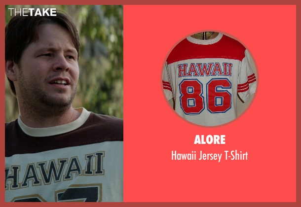 Alore red t-shirt from Neighbors seen with Ike Barinholtz (Jimmy)