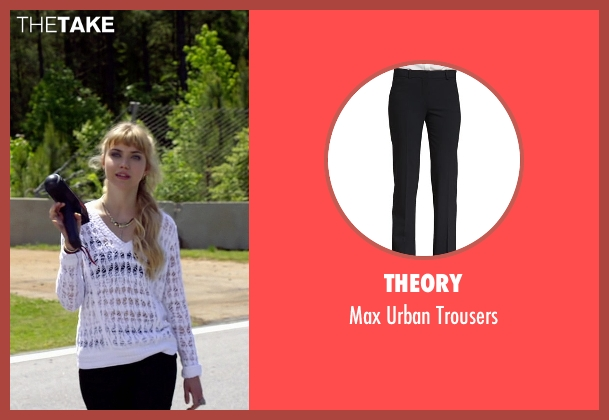 Theory black trousers from Need for Speed seen with Imogen Poots (Julia Maddon)