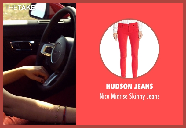 Hudson Jeans red jeans from Need for Speed seen with Imogen Poots (Julia Maddon)