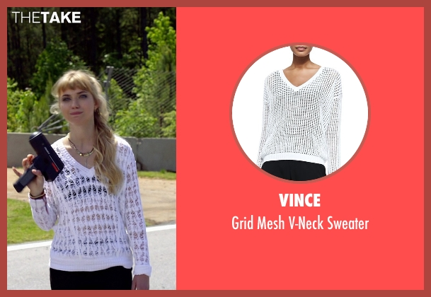 Vince white sweater from Need for Speed seen with Imogen Poots (Julia Maddon)