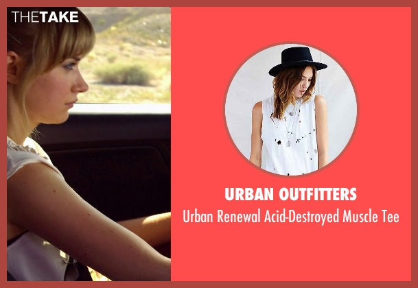 Urban Outfitters white tee from Need for Speed seen with Imogen Poots (Julia Maddon)